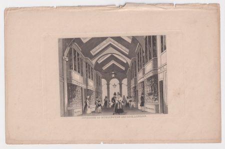 Antique steel engraving print, Burlington Arcade, London 1845