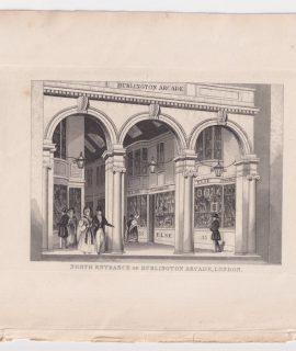 Antique engraving print North Entrance of Burlington Arcade, London, 1820