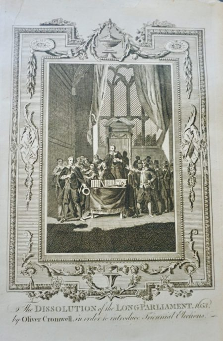 "Antique engraving print: ""The dissolution of the Long Parliament, 1653"" by Oliver Cromwell"