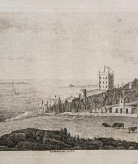 1770 Antique Engraving Print, Bambrough castle