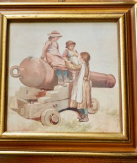 R. Douglas, Watercolor, Girls over the cannon (1939 approx.)