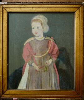 Oil on canvas, dame with bell, approx. 18th-19th Century