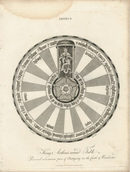 Rare Antique Engraving print, King Arthur's round table, London 1796