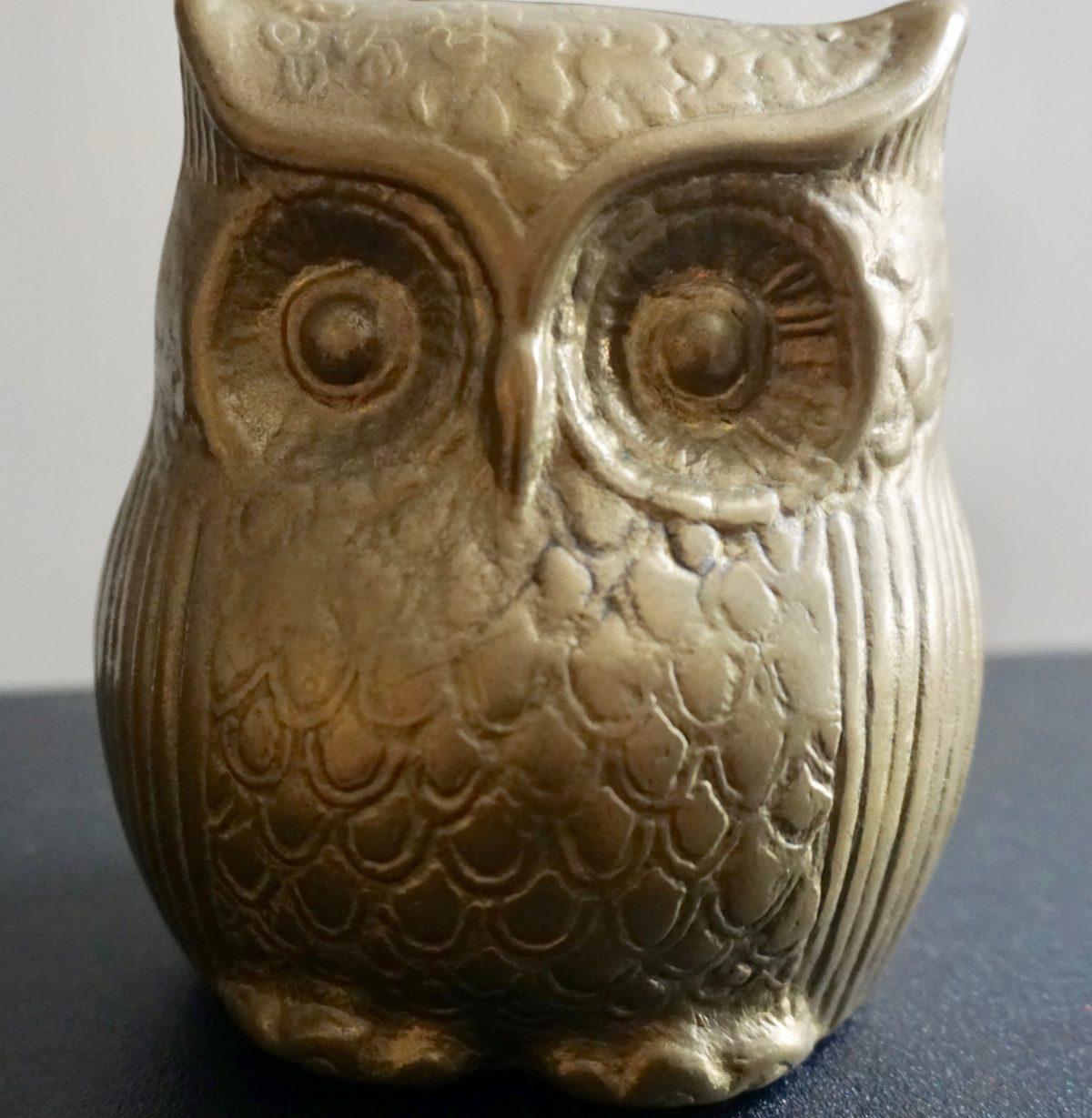 Rare Antique Brass Owl Money Box Antiche Curiosit 224