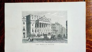 """Antique Engraving Print, """"The Mansion House"""", London 1830"""