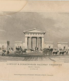 "Antique Engraving Print, ""London & Birmingham Railway Terminus, Euston Square, 1829"