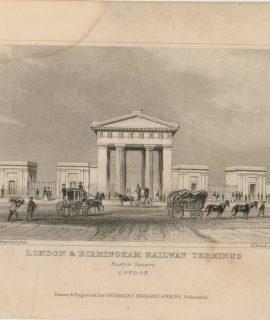 """Antique Engraving Print, """"London & Birmingham Railway Terminus, Euston Square, 1829"""
