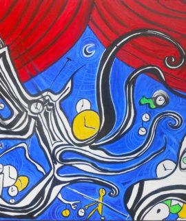 Spettacolo senza tempo, olio su tela, 92 x 60 cm