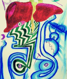 Uomo di fegato, tecnica mista su carta, 42 x 30 cm.