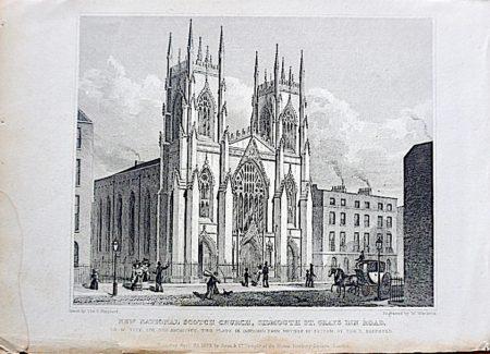 "Antique Engraving Print, ""New National Scotch Church, Sidmouth St. Grays Inn Road, 1829"