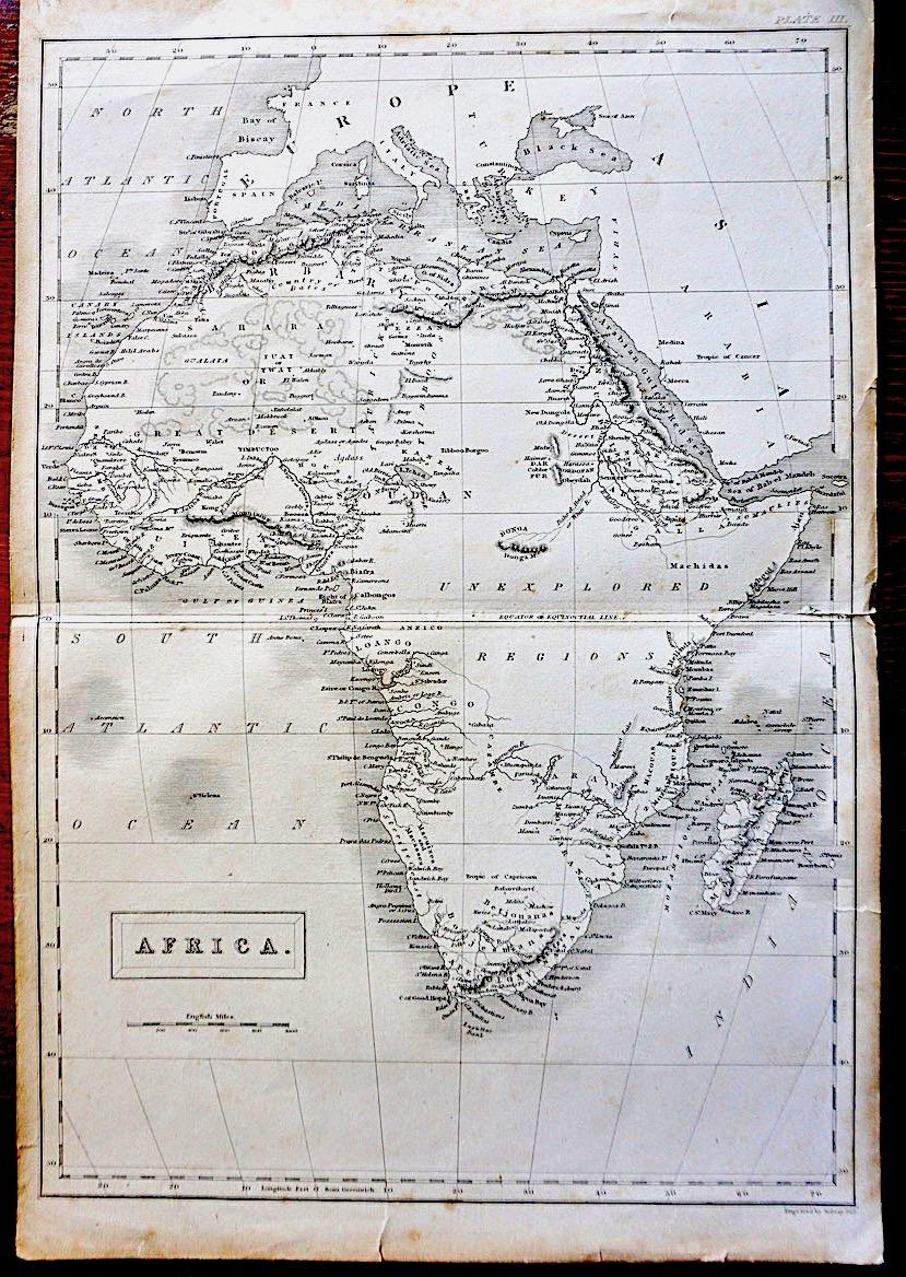 Antique Map Africa By Sidney Hall 1828 Antiche Curiosita