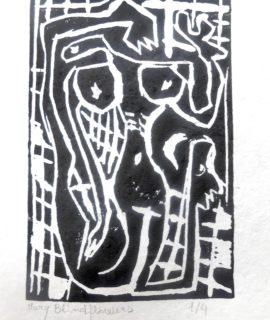 Fallofemmina, linoleografia, cm. 20 x 15