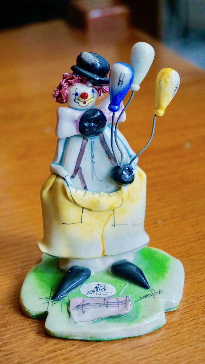 Vintage Signed Clown Ballons Figurine Zampiva Made In