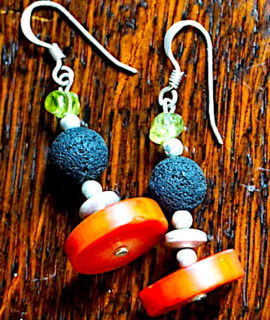 Unique handmade earrings, silver 925, coral, olivina and volcanic black stone