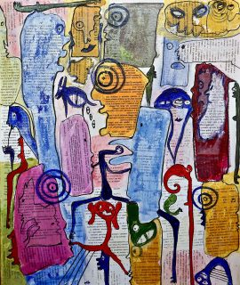 Fb, mixed media on canvas by Mary Blindflowers©