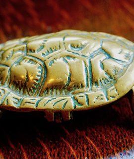 Antique Brass Turtle Jewelry Box