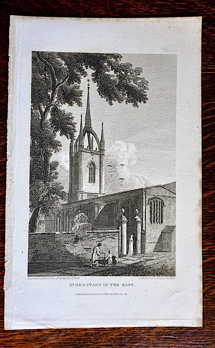 Antique Engraving Print St Dunstans In The East 1815
