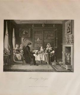 Antique Engraving Print, Morning Prayer, 1840