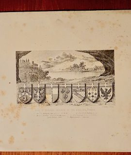 Antique Engraving Print, Arms of Deceased Officers of the English Langue, 1830