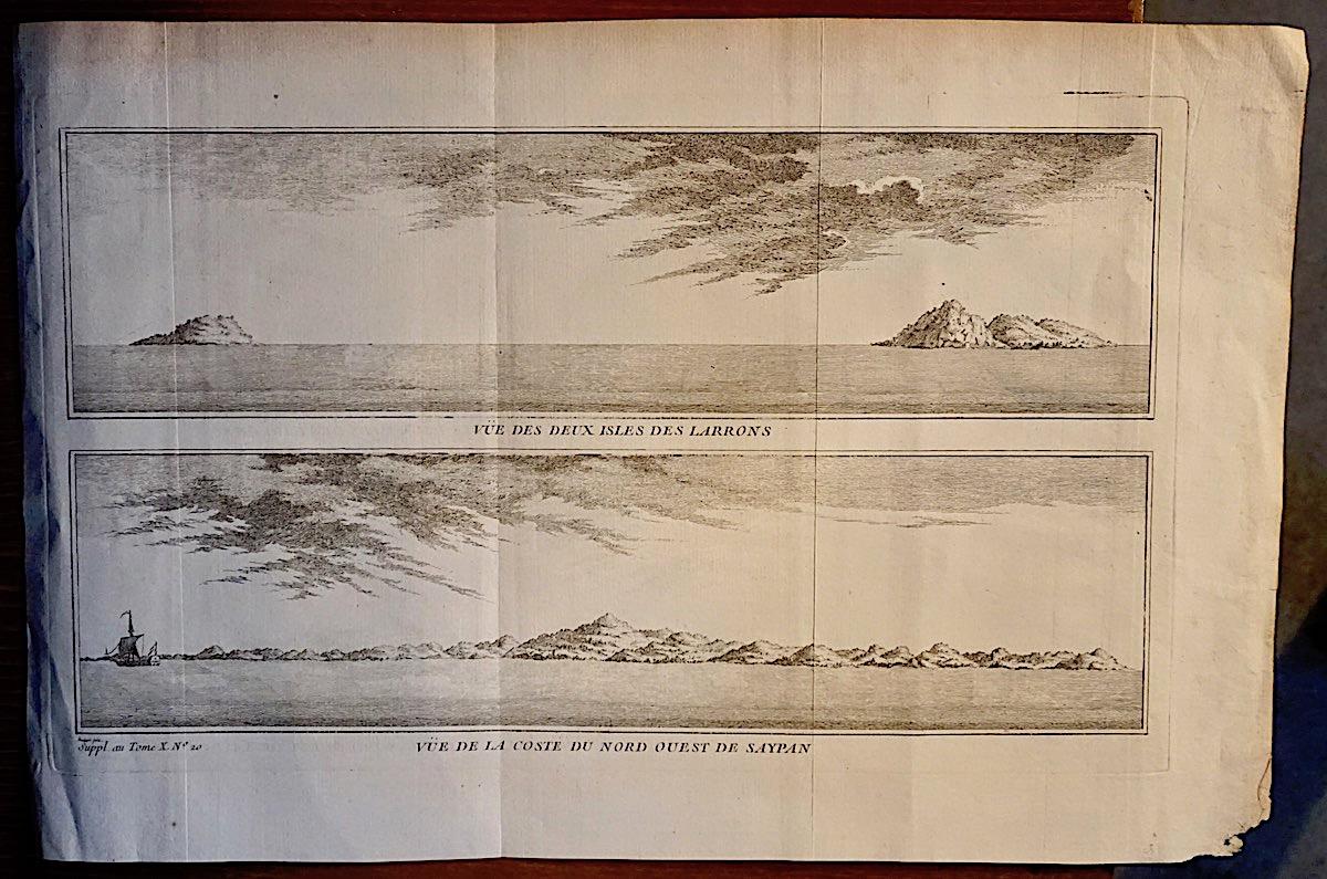 Antique Engraving Print Quot Vue Des Deux Isles Des Larrons