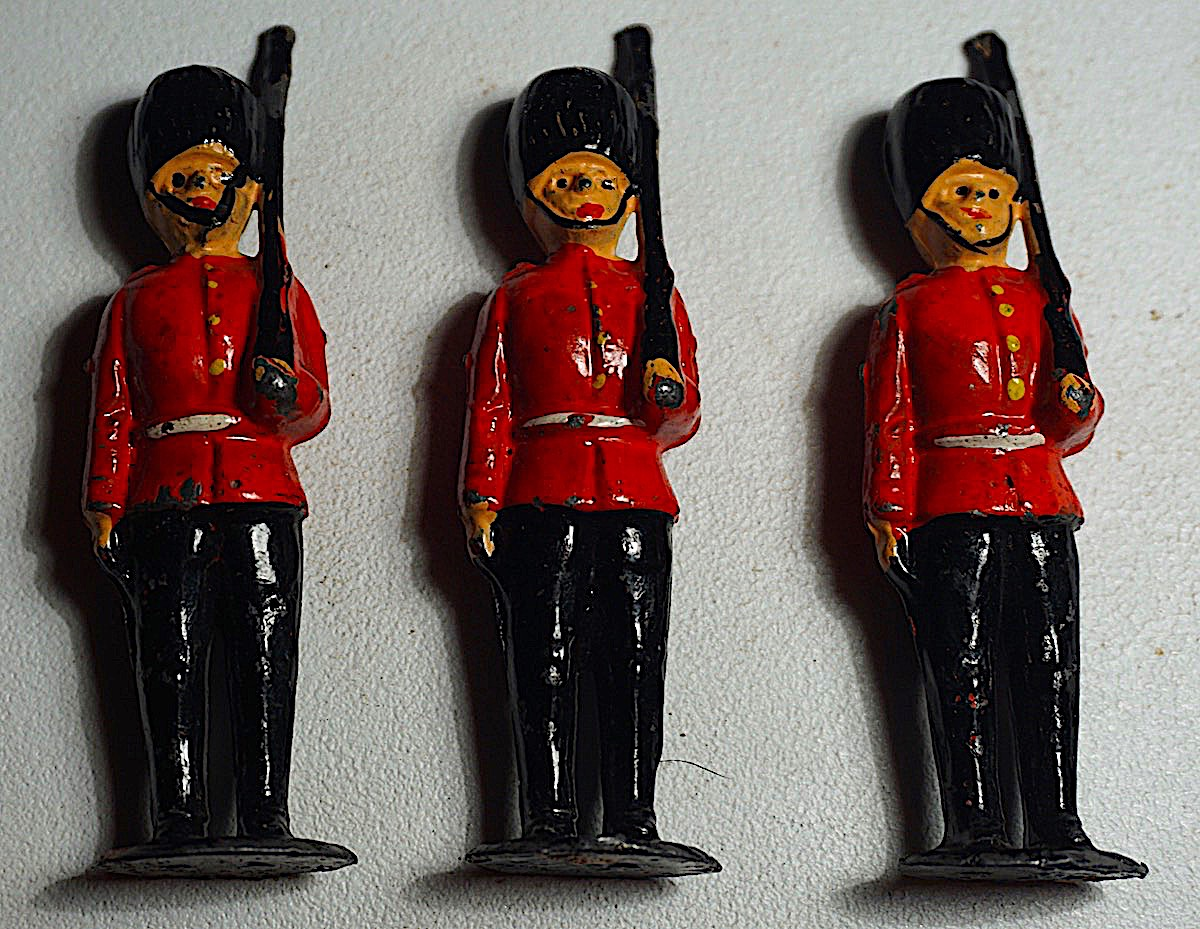 3 Antique Metal Original Britain Victorian Soldiers