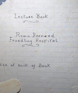 "Manuscript: ""Lecture book, Roma, Bernard Foundling Hospital"", 1940"