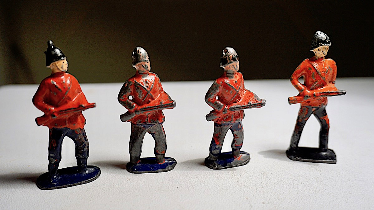4 Antique Metal Toy Soldiers John Hill Amp C 1898 1914