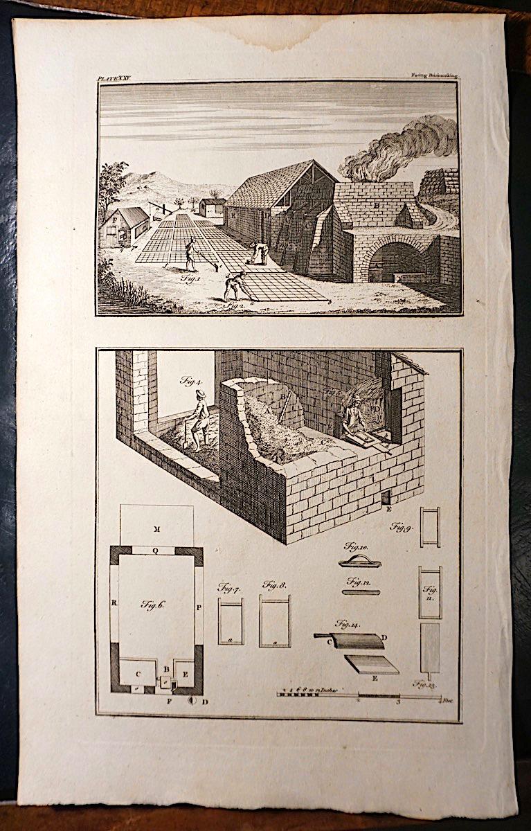 Antique Engraving Print Facing Brick Making 1765