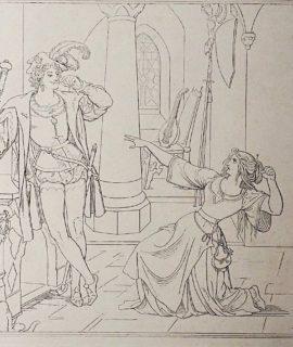 Antique Engraving Print, Supplicant scene, 1820