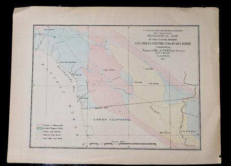 Geological Map, San Diego and the Colorado River California 1855