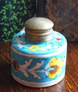 Vintage porcelain inkwell handpainted