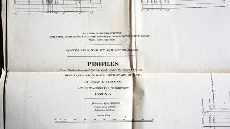 Antique map, Explorations and Surveys, 1853