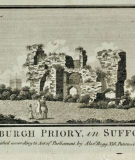 Antique Engraving Print, Bliburgh Priory in Suffolk