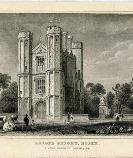 Antique Engraving Print, Leiche Priory, Essex, 1831