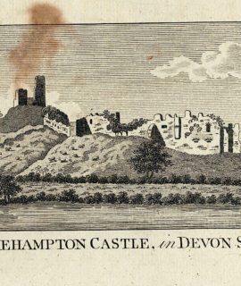 Antique Engraving Print, Okehampton Castle, in Devon sh., 1800