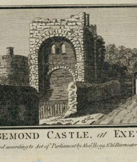 Antique Engraving Print, Rougemond Castle, al Exeter, 1800