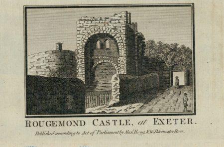 Antique Engraving Print, Rougemond Castle, al Exeter, 1800