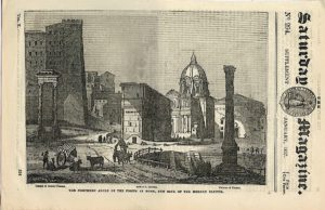 Antique Engraving print, The Forum at Rome, 1837
