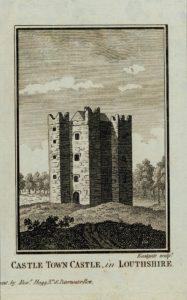 Antique Engraving Print, Castle Town Castle, 1800