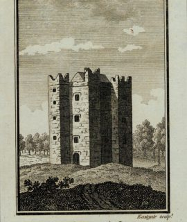 Antique Engraving Print, Castle Town Castle, 1800