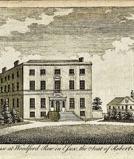 ntique Engraving Print, Prospect House Woodford Row Essex, 1790