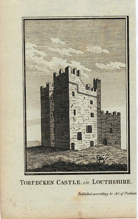 Antique Engraving Print, Torfecken Castle, in Louthshire, 1800