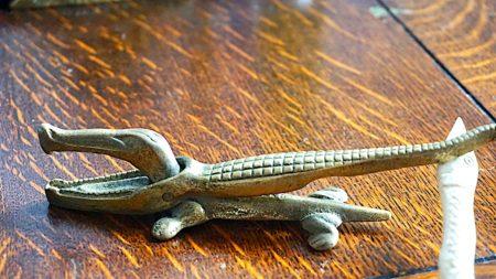 Antique Brass Crocodile Art Deco Nut Cracker, 1920