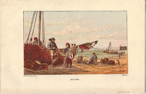 Antique victorian print, Sea-side, 1890
