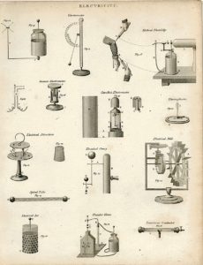 Antique Engraving Print, Electricity, 1780