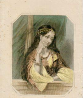 Rare Antique Engraving Print, Leila, Fanny Corbeaux, 1843