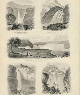 Antique print, Cataracts, 1890