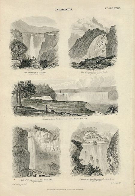Antique print, Cataracts, 1890