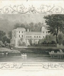 Antique Engraving print, Seat of the Marquis of Ailsa, 1835