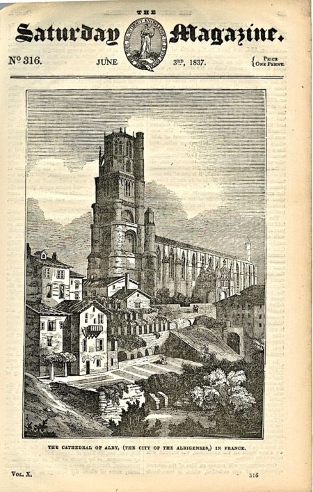 The Cathedral of Alby in France, 1837 from Saturday Magazine n. 316